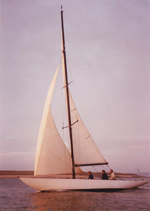 Six Metre Kyria sailing in Caernarfon Bay c. 1983